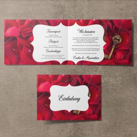 Romantische Hochzeitseinladung Schlüssel