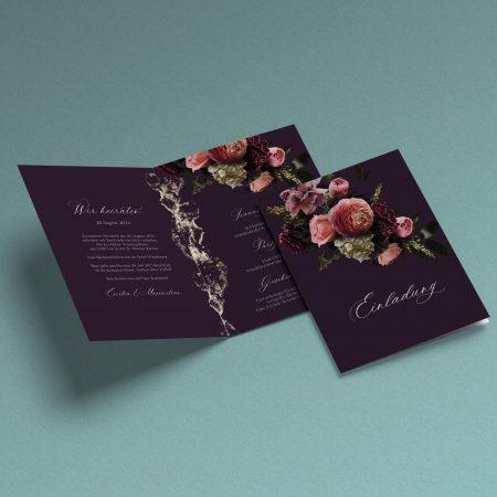 Luxuriöse Hochzeitseinladung Velveteen