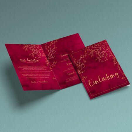 Luxuriöse Hochzeitseinladung RubinPassion
