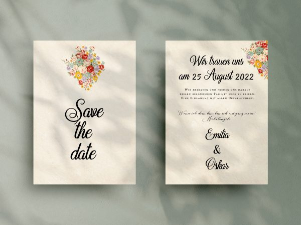 Save-the-Date Code JSO42 Einfache Save-the-Date