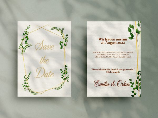 Save-the-Date Code JSO44 Einfache Save-the-Date