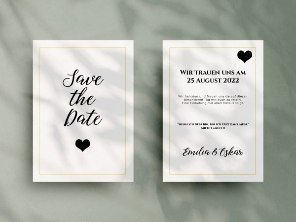 Save-the-Date Code JSO46 Einfache Save-the-Date