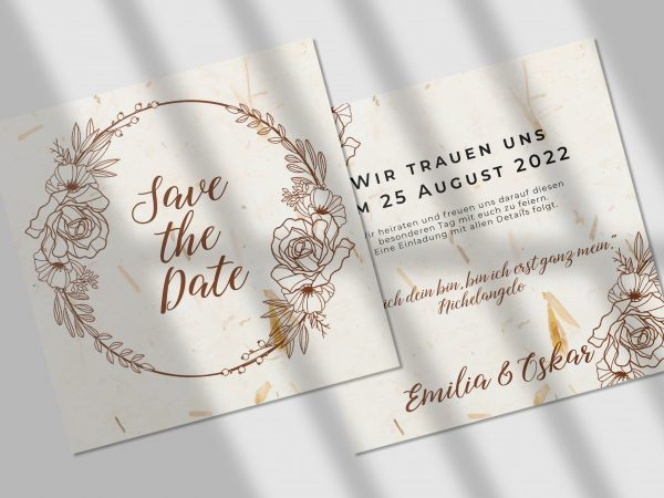 Save-the-Date Code JSO55 Einfache Save-the-Date