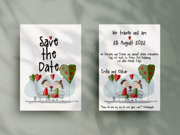 Save-the-Date-Karte NO39 - kreative Save-the-Date-Karte